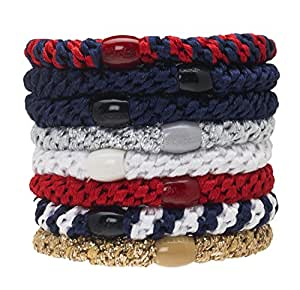 L. Erickson Grab & Go Ponytail Holders, Americana, Set of Eight - Exceptionally Secure with Gentle Hold
