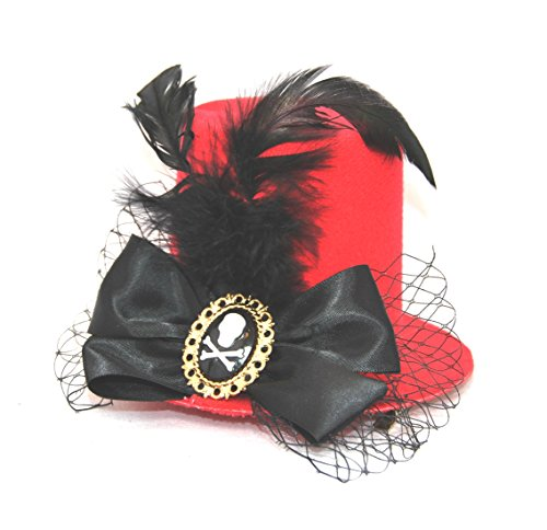 Skull Cameo Mini Top Hat Fascinator Cosplay ()