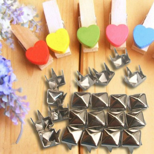 Leegoal 100pcs Pyramid Silver Leathercraft
