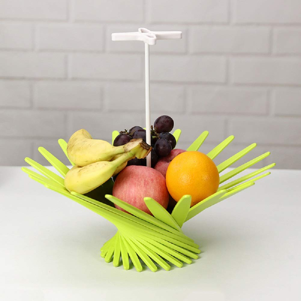 Fruit Basket Stand By ABS Material Collapsible Artwork- Fresh Veggie Holder for Large Capacity-modern Kitchen Countertop Storage for Exotic & Tropical Fruits (Green)