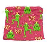 Dragon Sword Cute Frogs Lips And Hearts Gift Bags Jewelry Drawstring Pouches for Wedding Party, 5.5x5.5 Inch