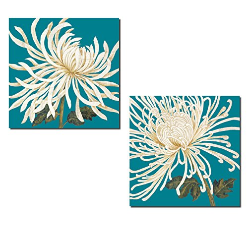 2 White Spider Flowers on Turquoise; Floral Decor; Two 12x12 Poster Prints. Teal/White