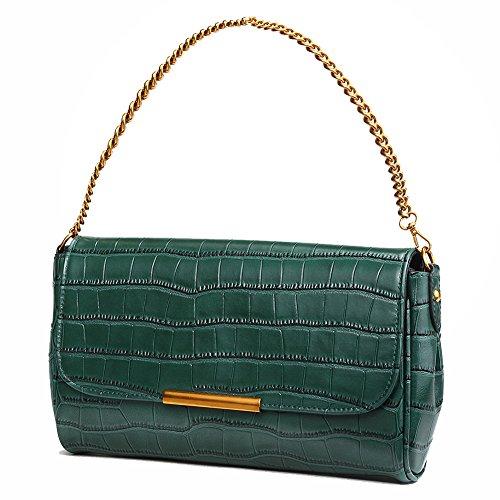 pour en Soirée Vert Crocodile Pochettes Véritable Sacs Soirée de Femme Petits de Cuir QI en Vintage WANG Sacoches Gaufré Fp1qUf0