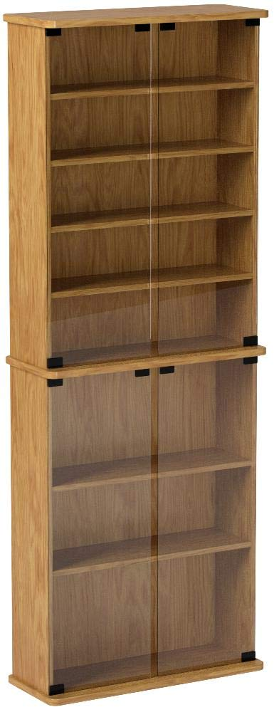 Leslie Dame GM-570W Multimedia Storage Cabinet with Glass Doors, Walnut