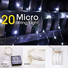 LIDORE Micro LED 20 Super Bright Cold White String Lights with timer. Battery Operated on 7.87 Ft Long silver ultra thin copper wire.
