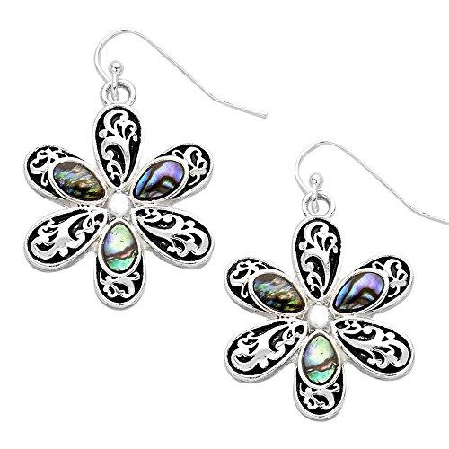 (Daisy Flower Fashionable Earrings Wavy Filigree Fish Hook Abalone Shell Jewelry)