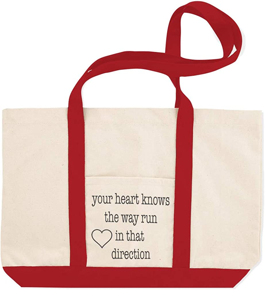 Canvas Shopping Tote Bag Your Heart Knows The Way Funny /& Novelty Humor Heart Sign Beach for Women