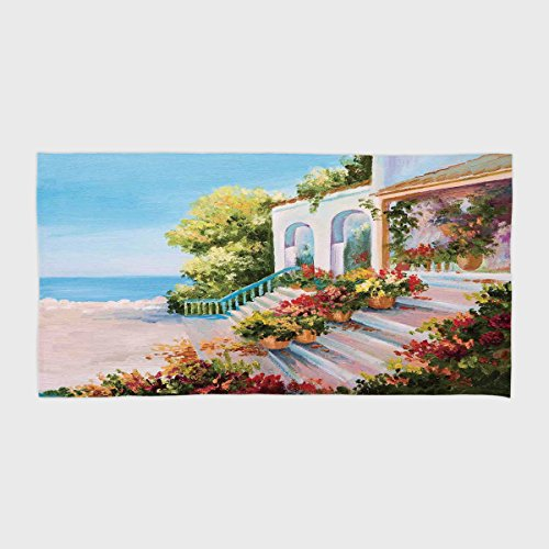 One Side Printing Hotel SPA Beach Pool Bath Hand Towel,Landscape Sea View From the Terrace of a Retro House Art Flowers Old Stairs Light Blue Beige Green,for Kids Teens and ()