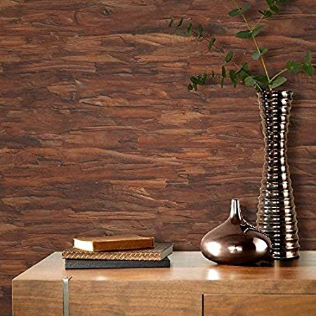 Rasch Tree Bark Pattern Wallpaper Wood Faux Effect Realistic Textured Copper Brown