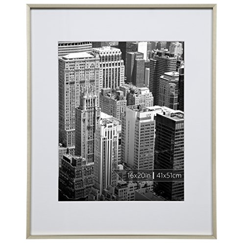 Burnes of Boston 16x20 Aluminum Gallery Frame Finish Matted to 11x14 Wall, 16