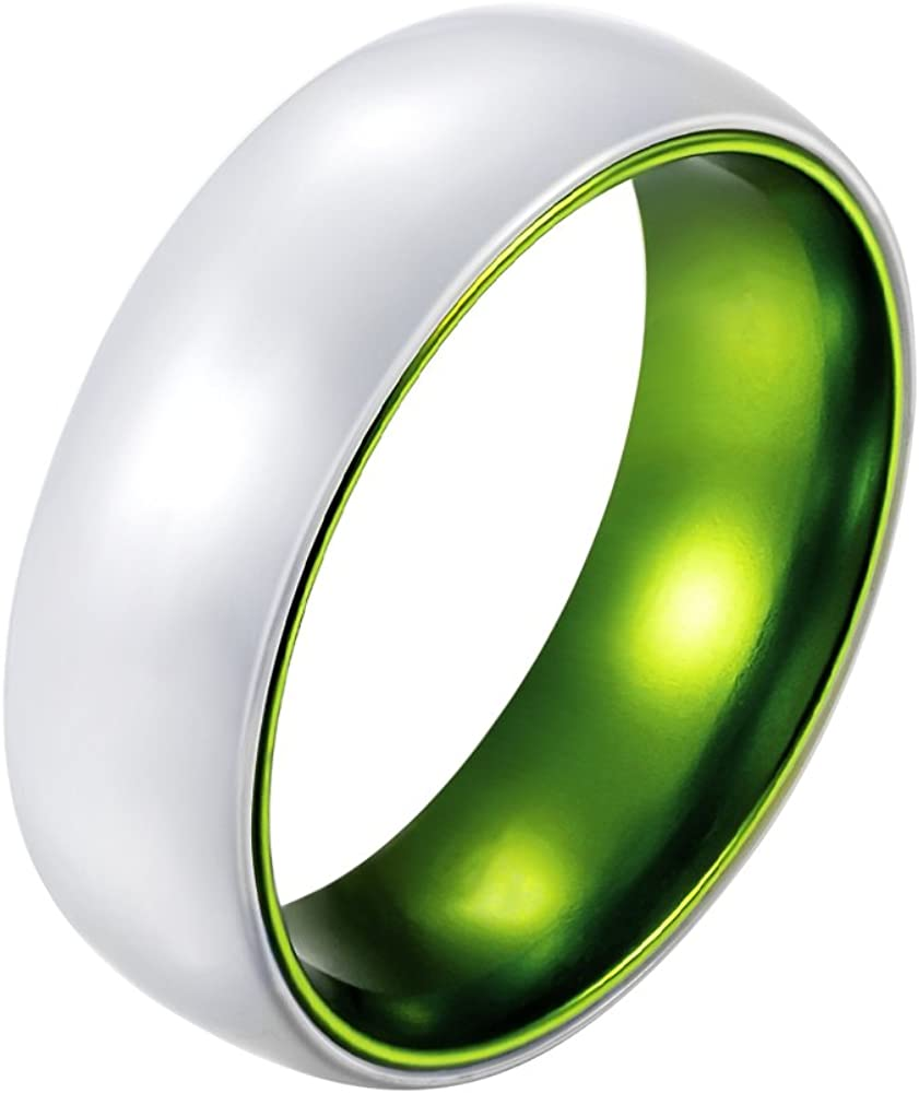 POYA 8mm White Ceramic Ring Polised Dome Men's Wedding Band with Green Inner Comfort Fit