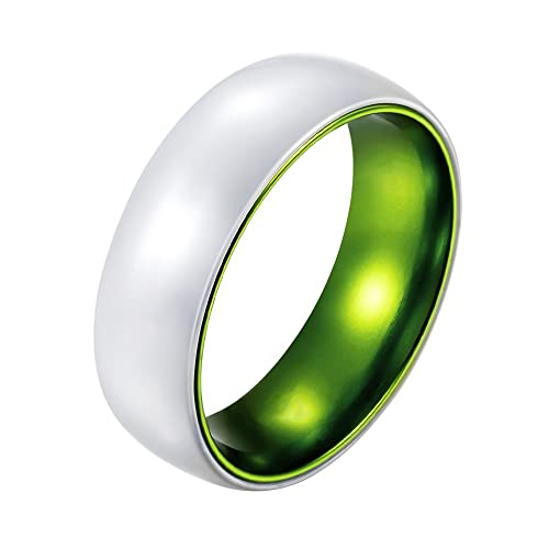 Poya 8mm White Ceramic Ring Polised Dome Men S Wedding Band With