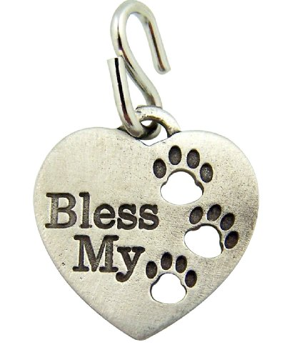 - Pewter Heart Shape Bless My Pet Dog Cat Collar Charm with Paw Prints, 1 Inch