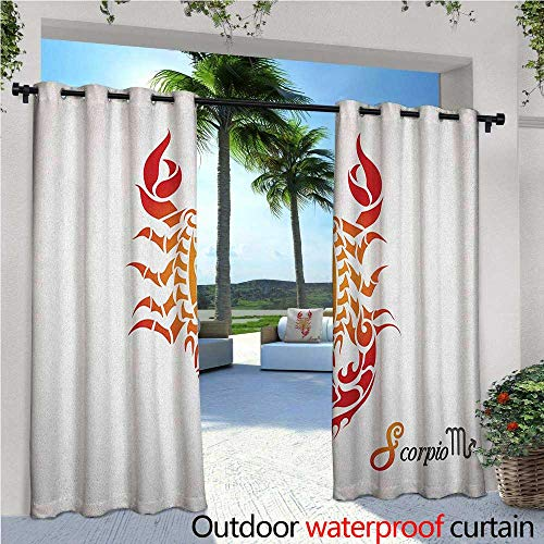 Zodiac Scorpio Outdoor Privacy Curtain for Pergola Astrology Birth and Prediction Theme Artistic Abstract Spiritual Symbol Thermal Insulated Water Repellent Drape for Balcony W120