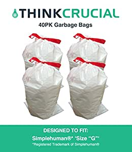 think crucial 40pk durable garbage bags fit simplehuman size g 30l 8 gallon. Black Bedroom Furniture Sets. Home Design Ideas