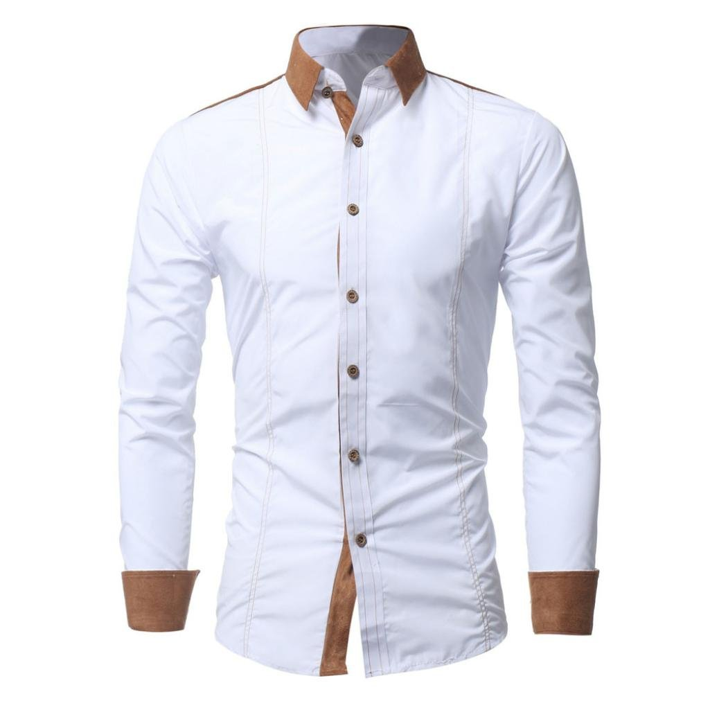iLXHD Men Shirt Fashion Solid Color Male Casual Long Sleeve Shirt(White ,2XL) by iLXHD (Image #1)