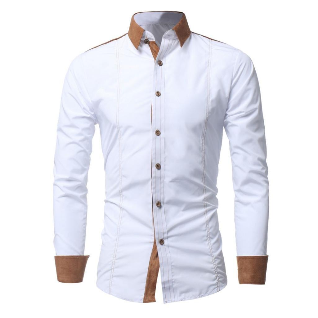 iLXHD Men Shirt Fashion Solid Color Male Casual Long Sleeve Shirt(White ,2XL)