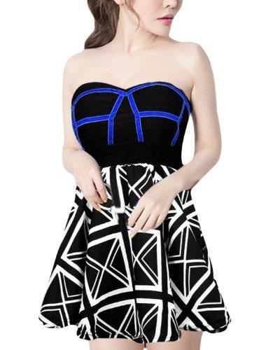 British Flag Mini Dress (Women Strapless Stretchy Waist British Union Flag Pattern Mini Dress)