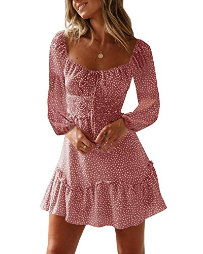 Yobecho Womens Summer Ruffle Sleeve Sweetheart Neckline Printing Dress Mini Dress (X-Large, L-Red)