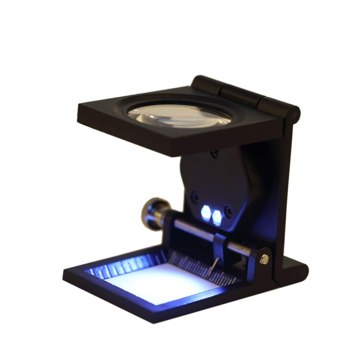 nero Funnyrunstore 10X In Lega di Zinco 2 LED Pieghevole di Ingrandimento Lente dingrandimento in vetro ottico Articoli da tavolino Misura Scala Contatore per fili da cucire