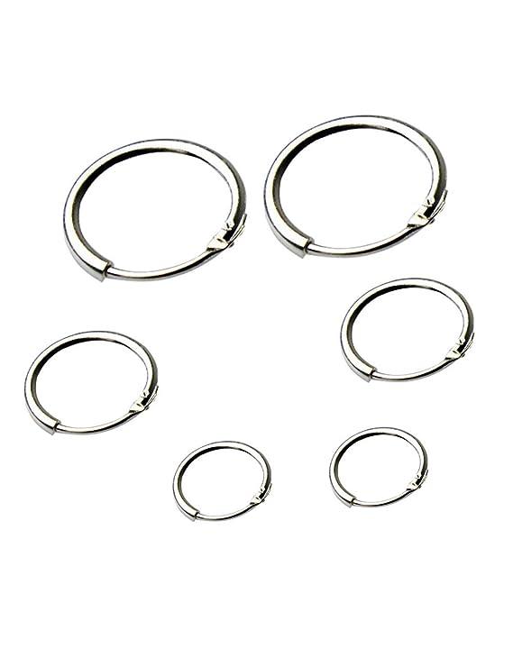 d79320a8f Amazon.com: Pinsparkle New Round Small Sleeper Hoops Earrings 3 Pairs  Earrings Hoop 8mm 10mm 12mm Hoop: Clothing
