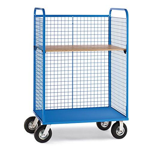 Relius Elite Wire Cage Trucks Wood Shelf Pneumatic Casters