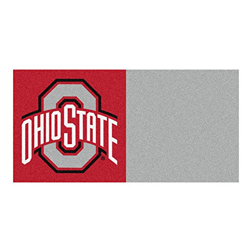 FANMATS NCAA Ohio State University Buckeyes Nylon Face Team Carpet Tiles by Fanmats