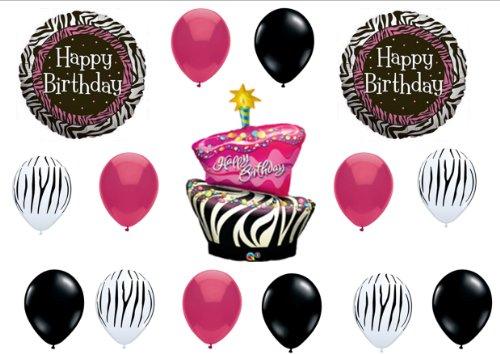 Zebra Stripe Cake Birthday Party Balloons Decorations Supplies