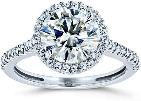 Kobelli Round Brilliant Kobelli Moissanite Halo Engagement Ring 2 1/6 CTW 14k White Gold, 5.5