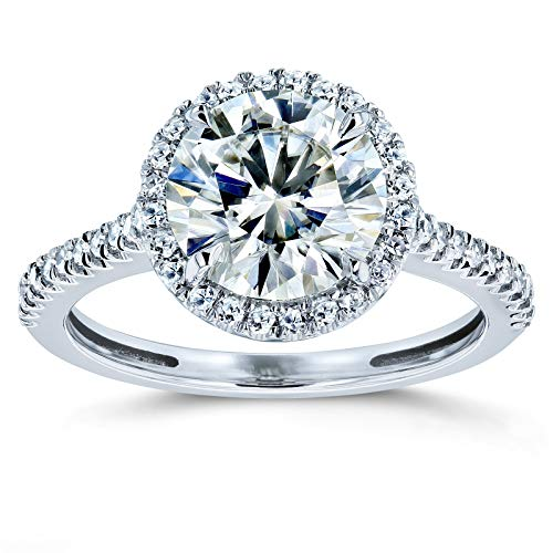 - Round Brilliant Kobelli Moissanite Halo Engagement Ring 2 1/6 CTW 14k White Gold, 6