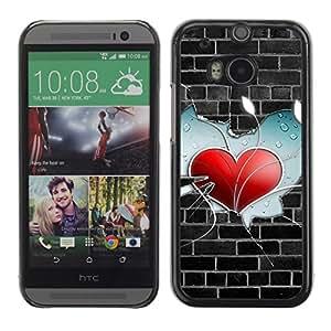 Paccase / SLIM PC / Aliminium Casa Carcasa Funda Case Cover - Wall Heart - HTC One M8