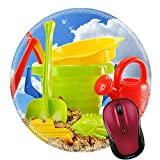 Liili Round Mouse Pad Natural Rubber Mousepad Plastic children toys for playing in sandpit or on a beach over the blue sky Photo 20323663