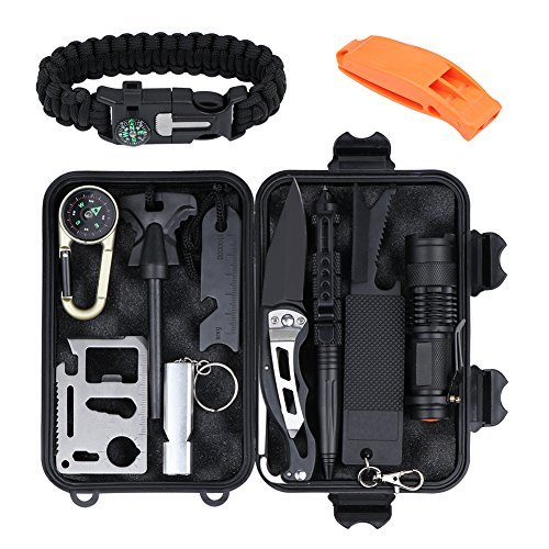 (Emergency Survival Gear Kit 13 in 1,Outdoor Survival Tools Set with Tactical Pen,Fire Starter,Survival Bracelet,Compass,Flashlight,Folding Knife for Camping Hiking Hunting Wilderness Adventures)