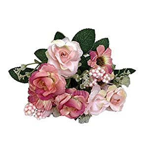 SANGQU Artificial Fake Flowers Rose Floral Real Touch Looking Silk Cloth Material Arrangement Bouquets Home Garden Decor Room Office Centerpiece Party Wedding Decor,Pack of 1(vase not Included) 20
