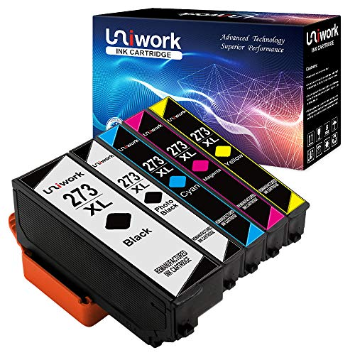 Uniwork 273XL Ink Cartridge Remanufactured for Epson 273XL 273 XL use in Epson XP-820 XP-810 XP-800 XP-620 XP-610 XP-600 XP-520 Printer, 5 Pack (1 Black, 1 Photo Black, 1 Cyan, 1 Magenta, 1 Yellow) by Uniwork