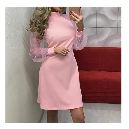 7477ecf2d26 Midress Women Pearl Beading Mesh Sleeve Dress Long Sleeve A-Line Mini  Nightclub Dress