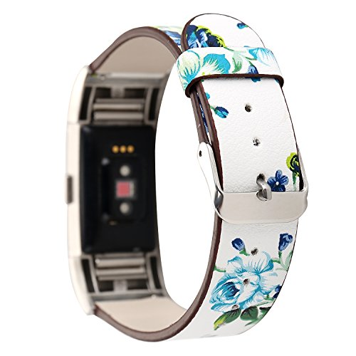 Leather Band for Fitbit Charge 2,New Flower Print Pattern Wrist Bands Strap Bracelet Replacement Watchband Accessories for Fitbit Charge 2 Smartwatch Fitness Tracker (White+ Blue)