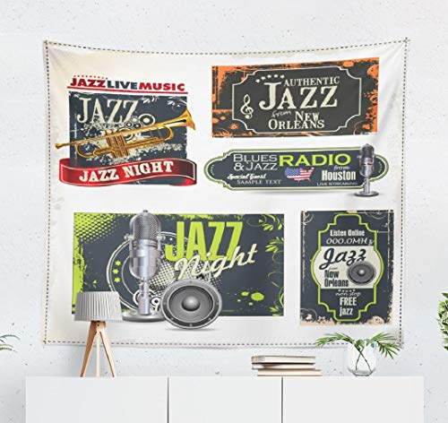 (Lshtar Jazz-Music Decorative Tapestry Music Piano and Good Music Festival Poster and Card Wall Hanging Tapestry Polyester 80''L x 60''W for Bedroom Living)
