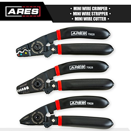 ARES 70628   3-Piece Mini Electrical Plier Set   Set Includes Mini Wire Crimper, Stripper and Cutter   Works With 10 to 22 Gauge Wire   Perfect for Confined Spaces   Carbon Steel Construction by ARES (Image #1)