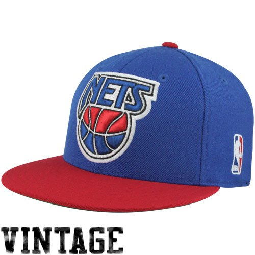 Brooklyn Nets Mitchell   Ness XL Vintage Logo 2 Tone Fitted Hat (7 ... 962367d07a75