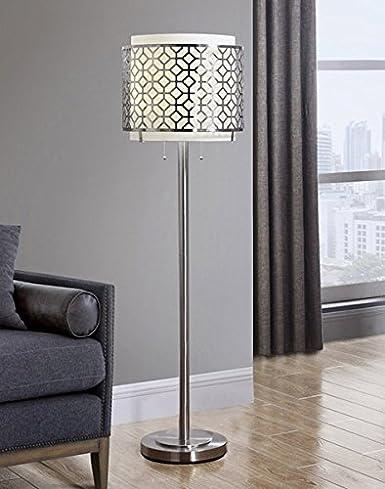 Melrose Metal Floor Lamp Modern Floor Lamp Brushed Nickel