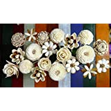 20 Balsa Wood Sola Diffuser Flowers with 7.5in. Rattan Reeds, mix of Jasmine, Rose, Zinnia, Lotus, Dianthus, Rangoon-Creeper