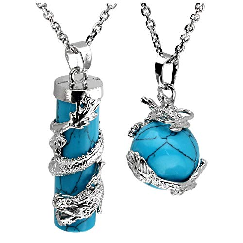 Jovivi 2pc Dragon Wrapped Synthetic Turquoise Round Ball Cylinder Gemstone Healing Crystal Pendant Necklace Set