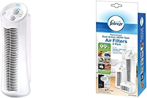 Febreze FHT190W HEPA-Type Tower Air Purifier with Febreze Replacement Dual Action Filter 2-Pack FRF102B With Odor Reducing Carbon Pre-Filter