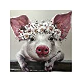 Lx10tqy Canvas Painting Pig Big Ears Picture Art Poster Wall Office Living Room Decor 40x40cm