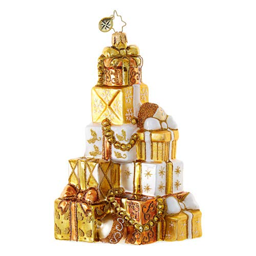 Christopher Radko Golden Gift Mountain Packages & Gifts Christmas Ornament