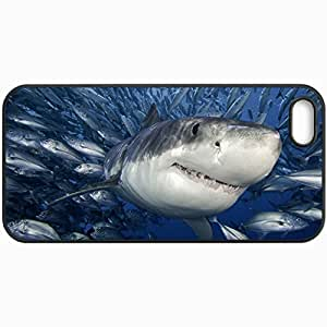 Customized Cellphone Case Back Cover For iPhone 5 5S, Protective Hardshell Case Personalized White Shark Fish Sea Black