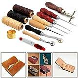 MUITOBOM 12PC Leather craft Sets Hand Basic Hand Stitching Sewing Tool Set Kit Thread Awl Waxed Thimble
