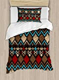 Lunarable Aztec Duvet Cover Set Twin Size, Tribal Ethnic Design Abstract Colorful Shapes Latin American Inspired Print, Decorative 2 Piece Bedding Set with 1 Pillow Sham, Light Brown Red Blue