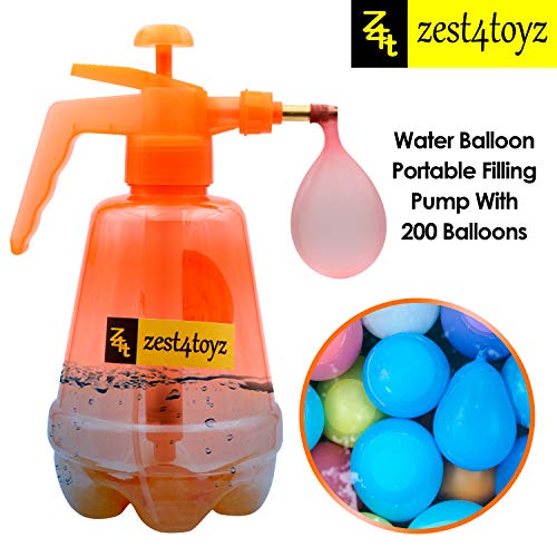 Zest 4 Toyz 4 in1 Holi Combo for Holi Celebration , Pack Contain – 1 Water Pump , 200 Pcs Water Balloon , 5 Packet Herbal Gulal & 1 T-Shirt -Assorted Color Design